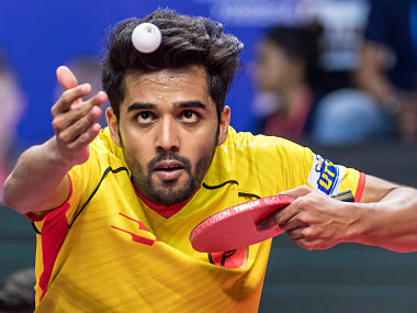 Sanil Shetty of Falcons TTC in action during the Tie 1 match of the Ultimate Table Tennis league played between RP-SG Mavericks and Falcons TTC. Ultimate Table Tennis