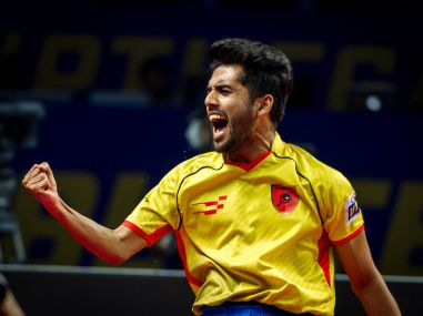 Sanil Shetty celebrates winning a point during his clash against the Yoddhas. Image courtesy: UTT