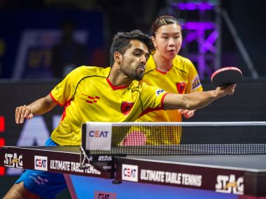 Sanil Shetty and Ho Ching Lee of Falcons TTC during a match. Image courtesy: UTT 2017