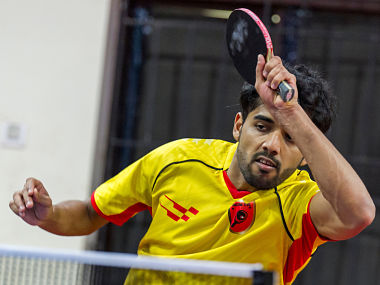 Sanil Shetty of Falcons TTC in action during the practice session of the Ultimate Table Tennis League in Chennai, India on July 11, 2017. Photo : Ali Bharmal / Focus Sports / Ultimate Table Tennis