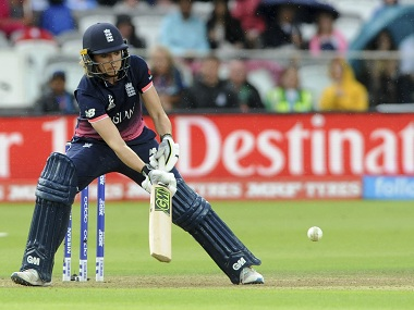England's Sarah Taylor hits the ball during the final. AP