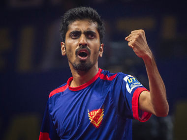 Sathiyan Gnanasekaran of Dabang Smashers TTC during the Tie 4 match of the CEAT Ultimate Table Tennis league played between Dabang Smashers TTC and Falcons TTC at the Jawaharlal Nehru Indoor Stadium in Chennai, India on July 16, 2017. Photo : Ali Bharmal / Focus Sports / Ultimate Table Tennis