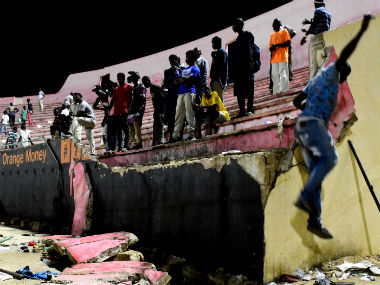 The portion of the wall at the Demba Diop stadium that crumbled on Saturday. AFP