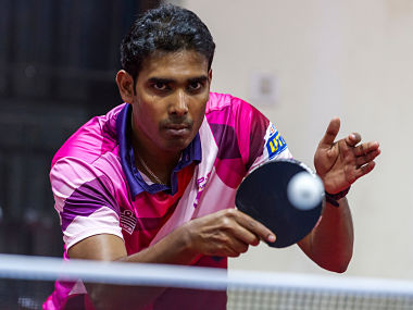 Sharath Kamal Achanta of RP-SG Mavericks in action during the practice session of the Ultimate Table Tennis League. Image courtesy: Ultimate Table Tennis