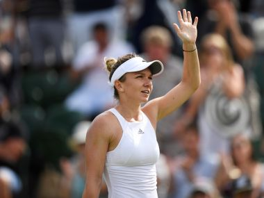 Simona Halep celebrates winning the third round match against Peng Shuai. Reuters