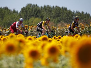 Riders race through Blagnac during Stage 14 of the Tour de France. REUTERS