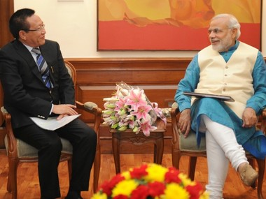Former chief minister TR Zeliang with Prime Minister Narendra Modi. PTI
