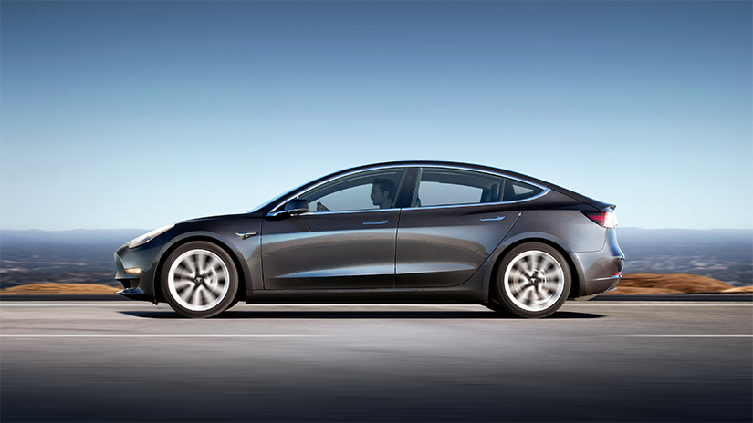 The profile view of the Tesla Model 3