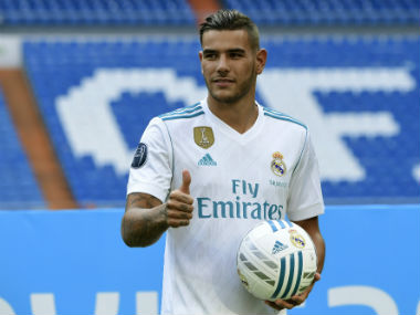 Theo Hernandez was unveiled at the Santiago Bernanbeu. AFP