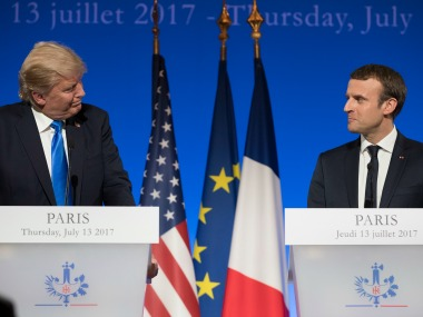 President Donald Trump and French President Emmanuel Macron. AP
