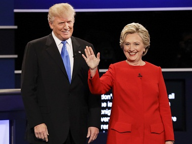 Republican presidential nominee Donald Trump and Democratic presidential nominee Hillary Clinton are introduced during the presidential debate in New York. AP