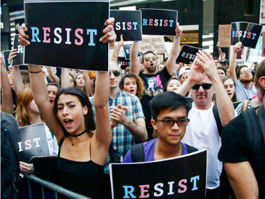 Citizens protest at Times Square in New York on Wednesday. AP