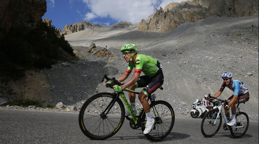 Colombia's Rigoberto Uran, left, and France's Romain Bardet climb Izoard pass during the 18th stage of the Tour de France. AP