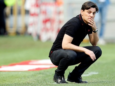 File photo of A.C. Milan manager Vincenzo Montella. Reuters