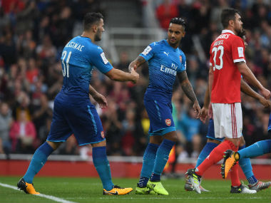 Theo Walcott was the star man as his brace was the highlight of the game against Benfica. Twitter: @Arsenal
