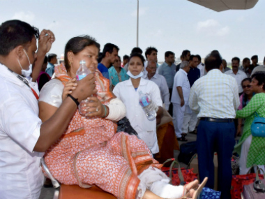 One of the Amarnath pilgrims, injured in the attack, after being brought to Surat on Tuesday. PTI