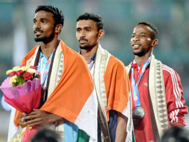 Mohamed Anas (C) during the medal ceremony of the 400m event at the Asian Athletics Championships. PTI