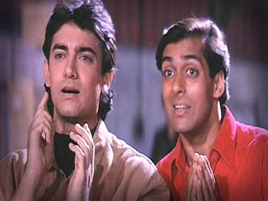 Aamir Khan and Salman Khan in Andaz Apna Apna. YouTube
