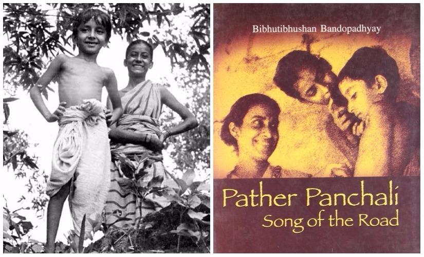 Apu in Satyajit Ray's Pather Panchali; (R) cover of Bandyopadhyay's novel