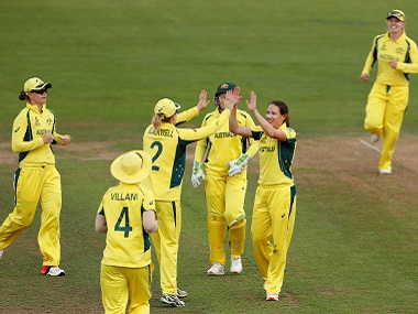 Australia's Megan Schutt celebrates the wicket of India's Harmanpreet Kaur in their group stage match. Reuters