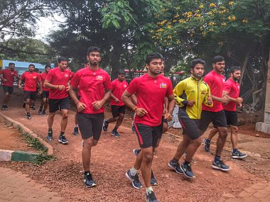 Bengaluru Bulls team in training before PKL 2017. Twitter/@BengaluruBulls