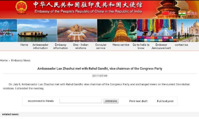 Screenshot of the post on Chinese Embassy's website. Courtesy: Firstpost Hindi