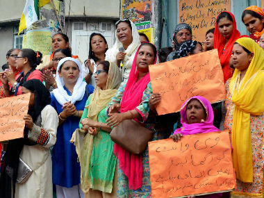 Kalimpong: Muslim women hold placards as they take part in a rally demanding for separate state of Gorkhaland, in Kalimpong, West Bengal on Monday. PTI