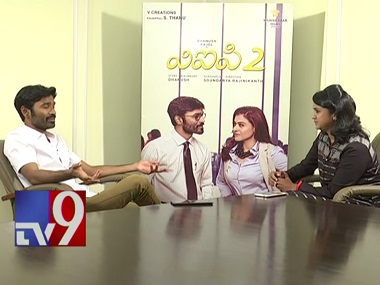 Screenshot from Dhanush's interview with TV 9 Telugu.