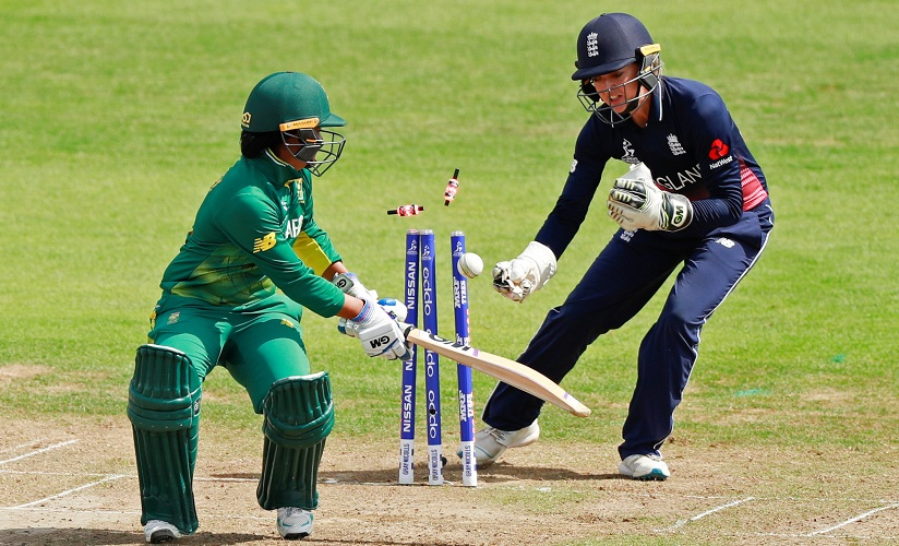 England's Sarah Taylor stumps South Africa's Trisha Chetty. Reuters
