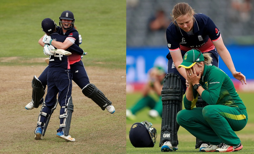 England's Anya Shrubsole (left) celebrates victory with Jenny Gunn, before (right) consoling South Africa's Dane Van Niekerk. Reuters