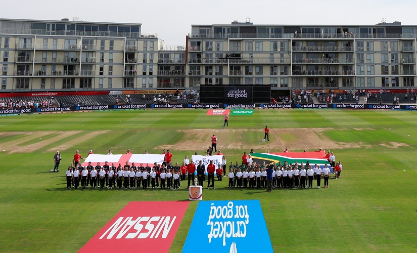 England and South Africa players line up before the match. Reuters