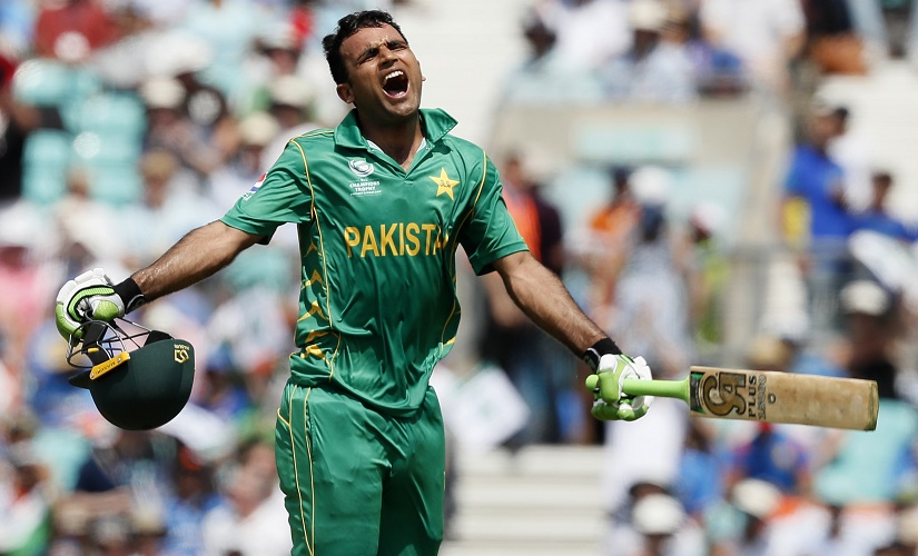 Fakhar Zaman celebrates after scoring a century during the ICC Champions Trophy final. AP