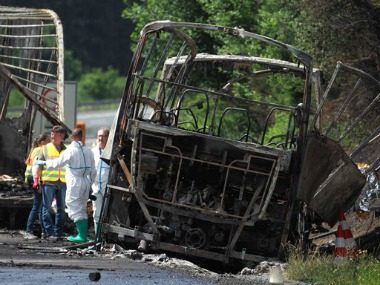 File image of Police and rescuers standing on the motorway A9 near Muenchberg, Germany. AP
