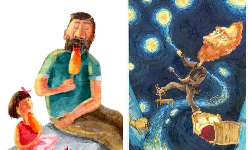 From poignant pieces like 'Dad' (left) to a contemporary piece on Vincent Van Gogh (right), she covers a variety of topics.