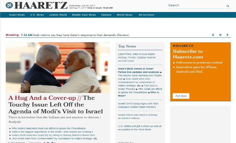 Screenshot of Haaretz website.