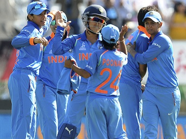 Indian cricketers celebrate their group stage with over Pakistan. AP