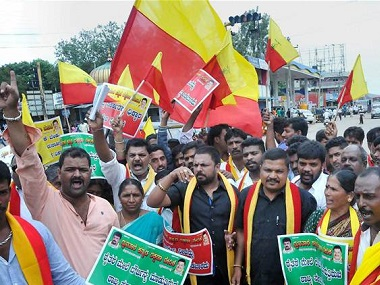 Activists carrying the unofficial Karnataka flag. PTI