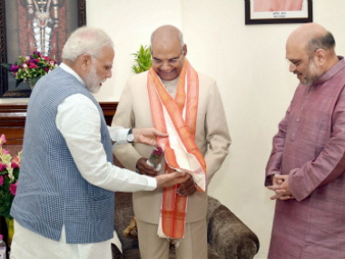 Ram Nath Kovind with Narendra Modi and Amit Shah. PTI
