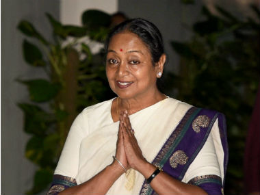 Meira Kumar attending the UPA meeting on Sunday. PTI