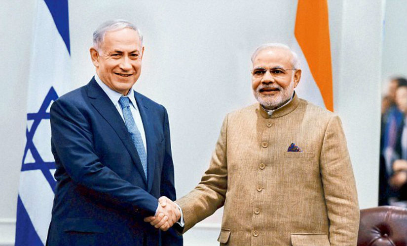 Modi with his Israeli counterpart Benjamin Netanyahu on the sidelines of the UN. PTI
