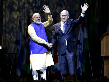 India's PM Modi with Netanyahu in Israel/ Pic courtesy: PIB