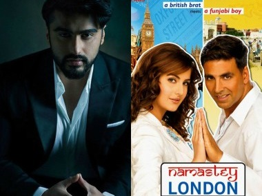 Arjun Kapoor and the poster of Namastey London. Images from Facebook and Twitter