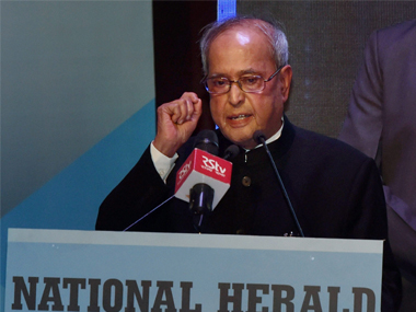 President Pranab Mukherjee addressing the audience  after the release of commemorative publication of National Herald  at  a function in New Delhi on Saturday .PTI