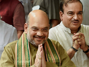 BJP president Amit Shah along with Parliamentary Affairs Minister Ananth Kumar after casting his vote during Presidential election 2017, in New Delhi on Monday. PTI