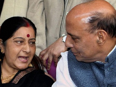 File image of Home Minister Rajnath Singh and External Affairs Minister Sushma Swaraj. AFP