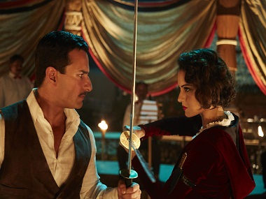 Saif Ali Khan and Kangana Ranaut in a still from Rangoon. Twitter