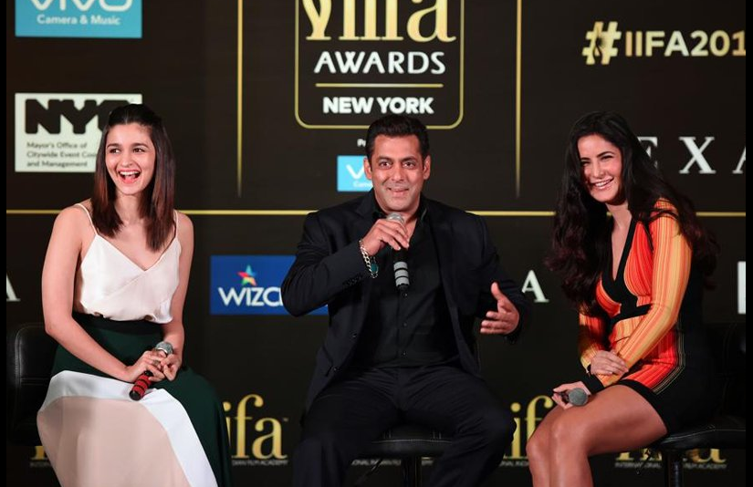 Alia Bhatt, Salman Khan and Katrina Kaif addressing the press at an IIFA conference. Image from Twitter.