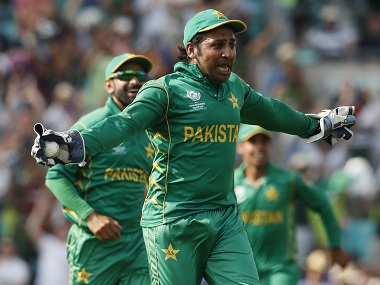 Sarfraz Ahmed celebrates during the ICC Champions Trophy final last month. AP