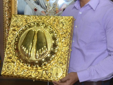 Gold sandals worth Rs 60 lakh were donated by a devotee. PTI