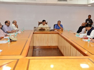 Sarbananda Sonowal in the review meeting. Twitter/@sarbanandsonwal